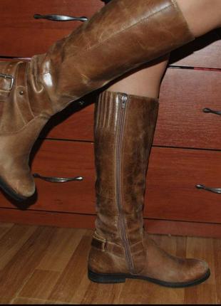 Сапоги кожаные коричневые деми осень кожа зима ботинки