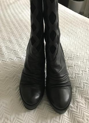 Сапоги isox на каблуке тёмно-серые кожаные3 фото