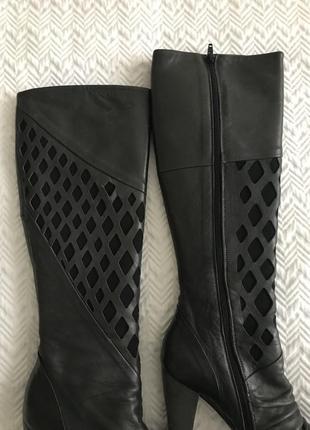 Сапоги isox на каблуке тёмно-серые кожаные4 фото