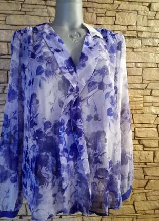 Шифоновая блуза  в трендовом floral print 48-50р
