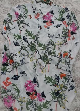 Шифоновая удлиненная рубашка блузка