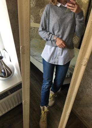 Тёплый свитер+ рубашка в составе шерсть