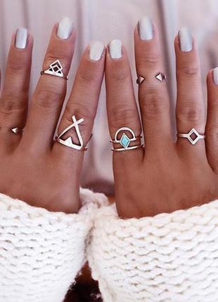 Набор колец 6 штук, кольца на фаланги серебряного цвета