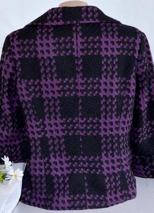 Брендовое черно-фиолетовое демисезонное пальто полупальто в клетку simon jeffery шерсть2 фото