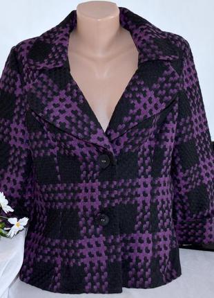 Брендовое черно-фиолетовое демисезонное пальто полупальто в клетку simon jeffery шерсть1 фото