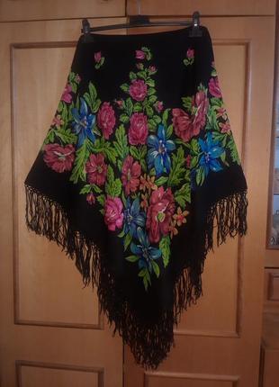 Шерстяной павловопосадский платок 1