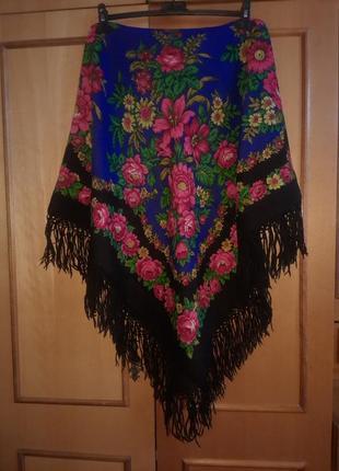 Шерстяной павловопосадский платок 2