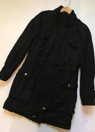 Стильная куртка парка / чёрная парка на искусственном меху