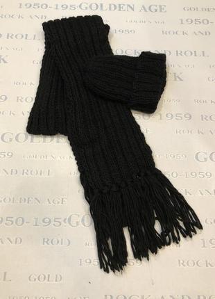 Теплый вязаный комплект:шапка+шарф