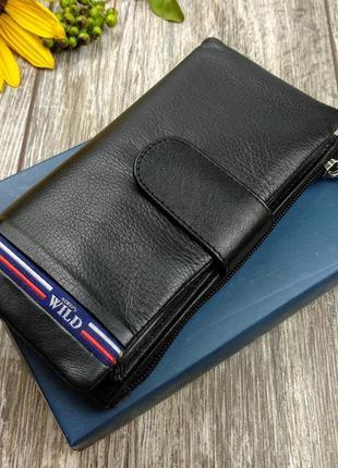 Кожаный женский кошелек . черный