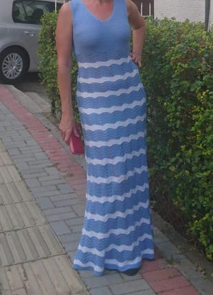 Платье длинное в пол вязаное