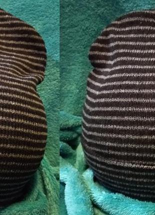 Новая шапка бини плотная вязка полоски отворот