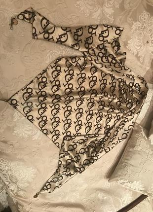 Шёлковый молочный бежевый шарф платок dior