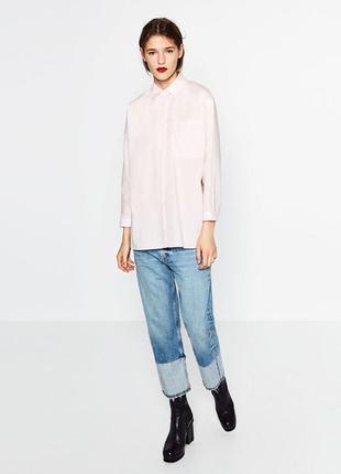 Классическая oversized рубашка нежно-розового цвета от zara