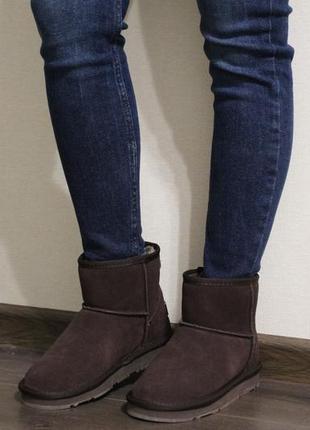 Женские зимние коричневые угги (ботинки, полусапоги, сапоги) из натуральной замши