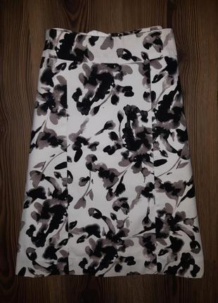 Плотная фактурная юбка в цветочный принт h&m 10
