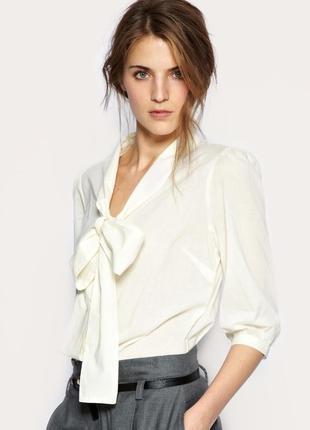 Bhs блуза белая с бантом