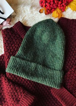 Вязанная шерстяная шапка 💚
