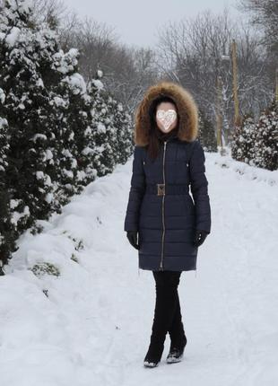 Стеганое теплое пальто\ пуховик с капюшоном мех лиса