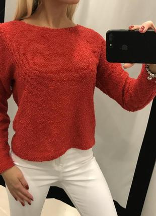 Красный свитер new look. буклированый свитер. укороченный свитер.