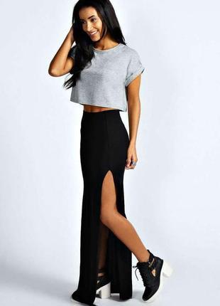Шикарная черная юбка карандаш макси в пол с завышенной талией на демисезон boohoo s