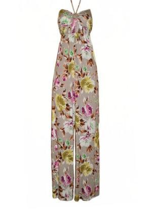 Комбинезон широкие брюки палаццо в пол вискоза цветочный принт размер 18 наш 52
