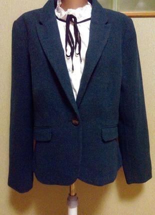 Шерстяной новый жакет пиджак изумрудного цвета  пог 54 см