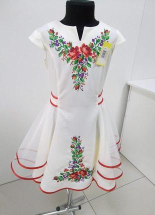 Платье вышитое с фатином для девочки