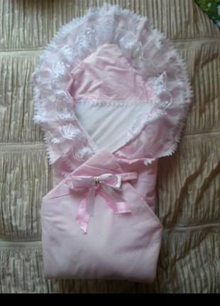 Конверт - одеяло на выписку для девочки.