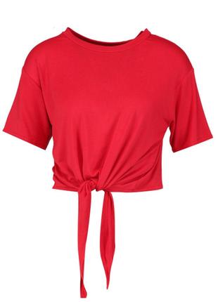 Футболка с завязкой укороченная oversize оверсайз кроп-топ красная boohoo (к035)