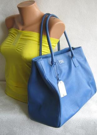 Paul costelloe италия сумка кожаная 40/38х30х15 длинные ручки через плечо натуральная кожа
