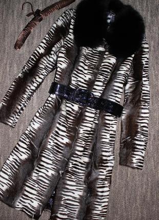 Меховое пальто из натурального меха мальтийского козлика и песца, шубка-европейская зима