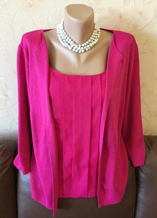 Яркий свитер джемпер с имитацией блузы от m&s (peruna) большой размер (uk16- наш 50-52)