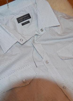 Zara man стильная слим рубашка на кнопках
