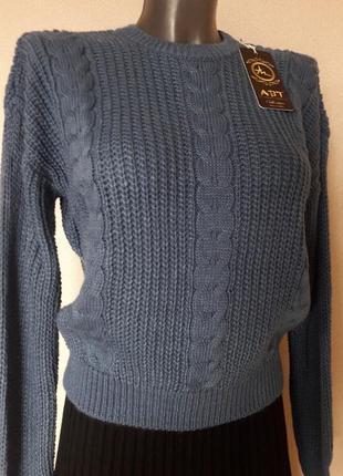Красивый,теплый,30%шерсти,стильный,элегантный,женственный  джемпер-оверсайз.цвета джинс