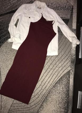 Платье сарафан миди бордо,марсала