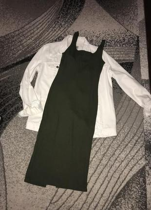 Платье миди сарафан хаки