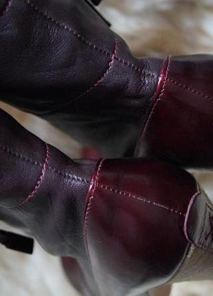 Новые кожаные сапожки ботинки ботильёны полусапожки бордового цвета