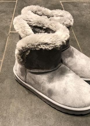 Короткие серые угги с опушкой amisu сапоги на меху ботинки под замш есть размеры