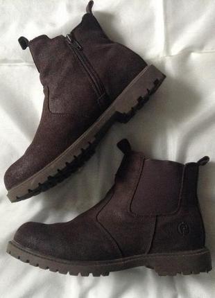Ботинки челси из нубука. 38(24,5 см). коричневые. натуральная кожа 100%