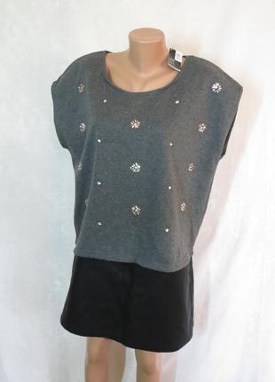 Cтильная блуза свитшот с утеплением внутри / безрукавка со стразами от  esmara