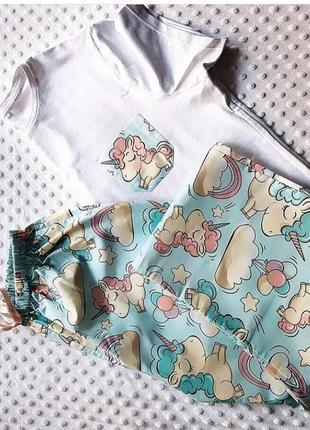 Пижама футболка штаны 100% хлопок  единороги