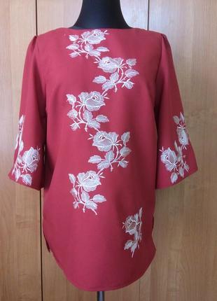 Блуза туника вышиванка  рубашка женская бордового цвета из габардина
