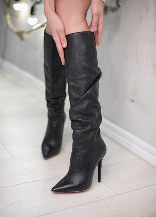 Кожаные сапоги на каблуке yarose shulzhenko
