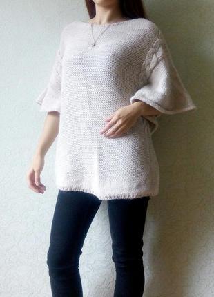 Теплый бежевый оверсайз свитер zara