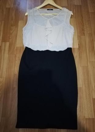Женское стильное платье шифон с трикотажем