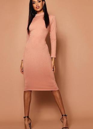 Платье миди в рубчик персикового цвета