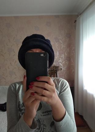 Шапка шляпка синяя теплая