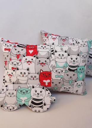 Декоративная подушка, двухсторонняя хлопок и плюш  - коты