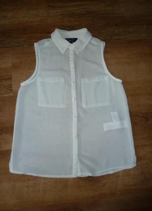 Белая нарядная блузка на 10 лет рост 140 см new look отличное состояние